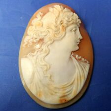 STUNNING ANTIQUE CARVED SHELL CAMEO DEMETER / CERES FOR BROOCH