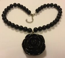 Chunky Black Acrylic Flower Necklace Resin Rose Pendant 50s Vintage Rockabilly