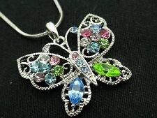 Butterfly Pendant Necklace Women Silver Chain Crystal Fashion Jewelry New