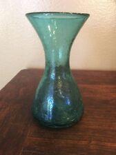 Vintage Blenko 1957 Turquoise Crackle Glass Vase
