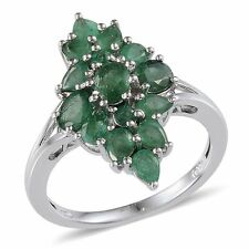 Kagem Zambian EMERALD Cluster Style RING Plat / Sterling Silver 3.15 Cts.