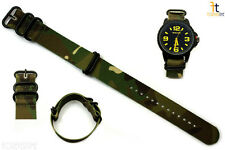 20mm Fits Luminox Nylon Woven Camouflage Watch Band Strap 4 Black S/S Rings