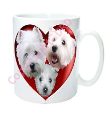 Westie Dog Mug Hearts & West Highland White Terriers, Dog theme Birthday Gift