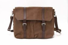 NWT$3625 Brunello Cucinelli Men's 100% Leather 2Tone Logo Engraved Messenger Bag