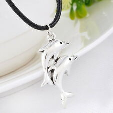 1PC Men's Women's Dolphin Silver Tone Pendant Necklaces Black Wax Rope Chain