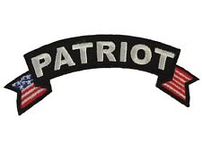 """Patriot Logo With Bordering Flags Embroidered 4"""" Wide Iron On Rocker Patch"""