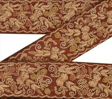 Vintage Sari Border Antique Hand Beaded 1 YD Indian Trim Sewing Brown Lace