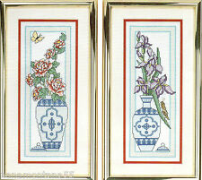 'Chinese Porcelain'-2 Vases w Roses & Iris Flowers-Counted Cross Stitch Kit 908