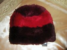 NWT JOCELYN 100% GENUINE RED DYED KNITTED SHEARED  RABBIT FUR BEANIE $175