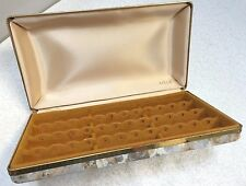 VINTAGE MELE HARD CASE EARRING JEWELRY CASE TRAVEL STORAGE ORGANIZER GRAY GOLD