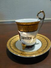 """Great Vintage Turkish Coffee Cup Saucer Istanbul  4"""" [Y6-W6-A8-E8]"""