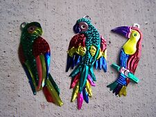 Lot of 3 Tin Painted Colorful Tropical Bird Ornaments - Mexico