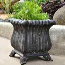 "NEW 16"" Tall Aged Charcoal Cast Stone Garden Urn Planter Flower Plant Pot Decor"
