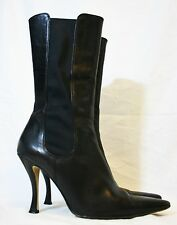 WALTER STEIGER SHOES BLACK LEATHER BOOTS PULL ON PANELED GORED ITALY 40 POINTY