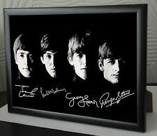"The Beatles Rare Framed CanvasTribute John Paul George Ringo Signed ""Great Gift"""