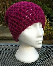 Hand Crochet Adult Chunky Cerise Red Slouchy Beanie / Wool Hat / Ski Hat