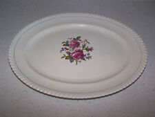 JOHNSON BROTHERS OLD ENGLISH 12 1/4 INCHN SERVING PLATTER - BLUE STRIPE & ROSES