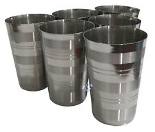 Set Of 6 Tall 14 cm Stainless Steel Tumbler Glass Drink Beer Water Cup Camping