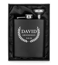 Custom Engraved 7oz Flask Matte Black Funnel Gift Box PERSONALIZED Leaf Crest