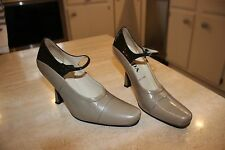 PRADA MILANO VINTAGE PUMPS MARY JANES ITALY TAUPE AND BLACK SIZE 35.5 PRISTINE