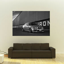 Poster of BMW M3 E46 Right Front B&W on WORK Wheels HD Huge Print 54x36 Inches