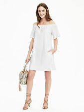 Banana Republic Off-Shoulder Flounce Poplin Dress, White SIZE ST #302331