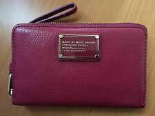 Marc By Marc Jacobs Leather Wallet Zip around With Wristlet Strap-Color:Red/Blue