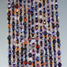 4MM  AGATE GEMSTONE LIGHT PURPLE FACETED ROUND LOOSE BEADS 15""