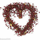 GISELA GRAHAM FESTIVE RED BERRY TWIG LOVE HEART WREATH CHRISTMAS DECORATION GIFT