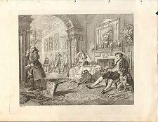 1818 Grabado Cobre Hogarth georgiano ~ desayuno del par nupcial