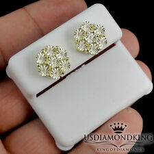 New 11mm 10k Yellow Gold Finish .07ct Genuine Real Diamond Flower Stud Earrings