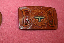 Unused Leather Belt Buckle with Flower or Sun Design