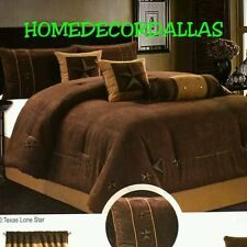 Western Texas Star Comforter 7pc Thick/Soft Quality Suede Queen Brown Chocolate
