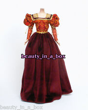 European Renaissance Burgundy Velvet Fashion for Barbie Doll