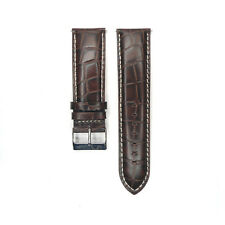 Watch Strap Band 24mm Alligator Croco Grain Genuine Leather Black Brown Gray Men