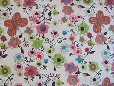 BUTTERFLIES FLOWERS PRIMATIVE BLOSSOMS TOSSED on 100% COTTON Priced By The Yard