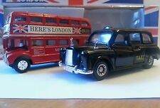 LONDON BUS & TAXI SET, PULL BACK & GO ACTION, DIECAST METAL  SOUVENIR GIFT