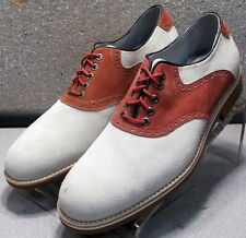 208748 DF30 Men's Shoes Size 9 M Beige and Red Suede Saddles Johnston & Murphy
