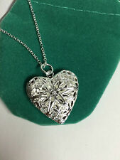 UK - 925 Sterling Silver Opening Locket Love Heart Pendant Necklace 18 inc  031