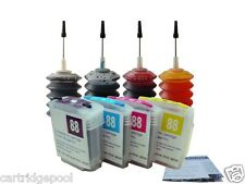 4 HP88 refillable cartridge K8600dn L7480 L7500 L7550 L7555 L7580 +4x30ml ink