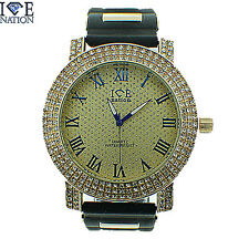 MENS ICED OUT 3 ROW FULL STONE ICE NATION WATCH WITH BULLET BAND #155 BRAND NEW