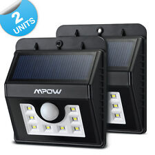 2x Mpow 8 LED Solar Lamp Wireless PIR Weatherproof Security Garden Light Motion