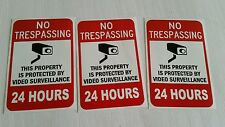 VIDEO SURVEILLANCE Security Decal Warning Sticker (no tresp..24hrs )set of 3 pcs