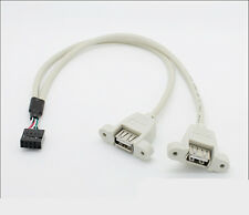 Dual USB 2.0 Female with screw panel mount to Motherboard 9 pin Cable