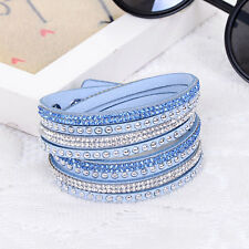 ELEGANT LEATHER Slake BRACELET MADE WITH SWAROVSKI CRYSTALS -BLUE LIGHT - NEW