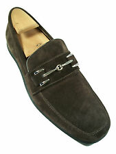 COLE HAAN - Brown Suede Loafers - Chrome Buckle - Size 8 1/2 - Made in Italy
