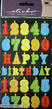 NEW 33 pc BIRTHDAY NUMBER CANDLES Candle Happy Birthday  STICKO Stickers