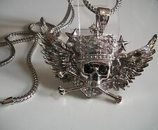 Silver Finish Hip Hop Bling Skull with Wings & Crown Pendant with 36'' chain