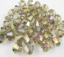 Jewelry making 100pcs 4mm #5301 colorful Bicone glass crystal beads Gray AB   ^%