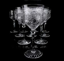 Antique Tiffin Set of 10 Etched Red Wine Glasses